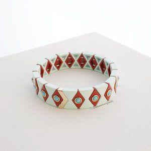 Roxanne Assoulin Argyle Stretch Bracelet Mint Red